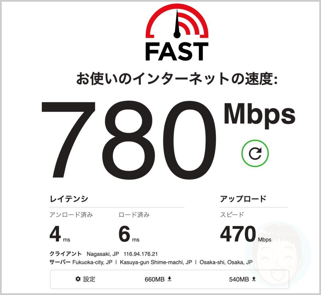 有線LANのインターネット速度